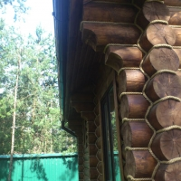 Баня из оцилиндрованного бревна 4х5м